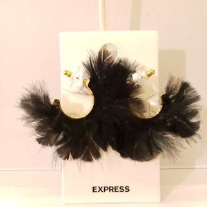 Express Black Feather Earrings